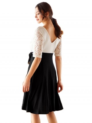 Eye-Appealing White Lace Patchwork Midi Dress Tie V-Neck For Romans