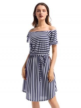 Leisure Puff Short Sleeve Stripe Midi Dress For Hanging Out