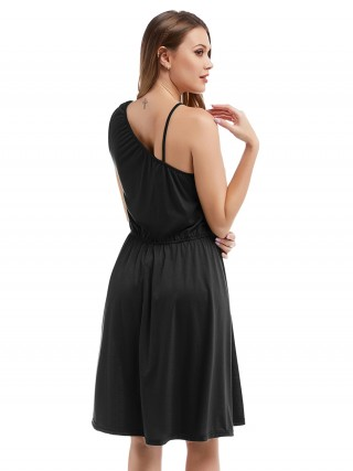 Absorbing Black One Shoulder Midi Dress Solid Color For Women