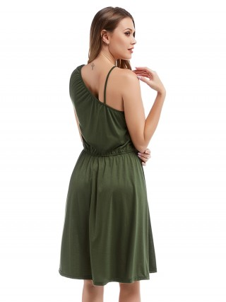 Absorbing Green Sling One Shoulder Midi Dress Plain Fashion