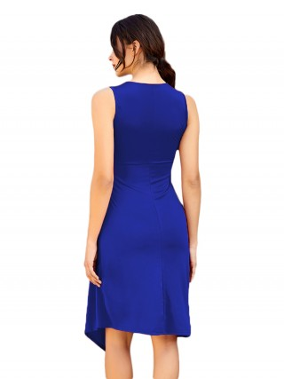 Diva Blue Sleeveless Ruffled Midi Dress Plain For Shopping