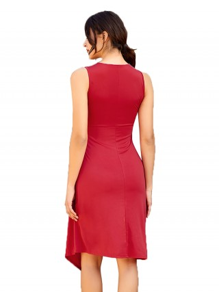 Striking Wine Red Ruffles Midi Dress Irregular Hem Comfortable