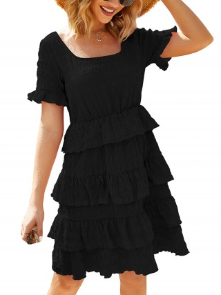 Fabulously Black Square Neck Layered Hem Midi Dress For Women