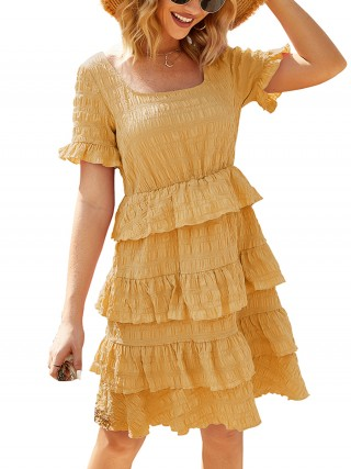 Pleasurable Yellow Short Sleeve Midi Dress Layered Hem