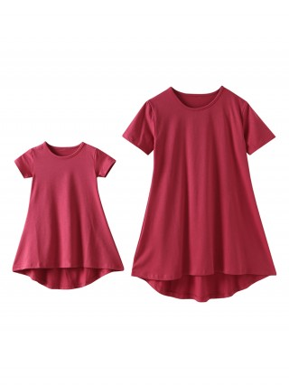Functional Rose Red Short-Sleeves Mother Girls Dress Cheap