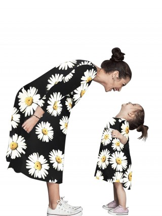 Glam Mother-Grils Dress Flower Printed For Walking