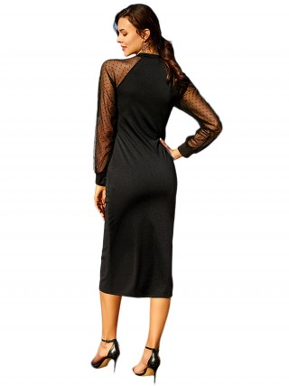 Appealing Black Mesh Patchwork Midi Dress Full Sleeve For Vacation