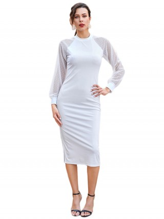 Beautifully Designed White Polka Dot Long Sleeves Midi Dress