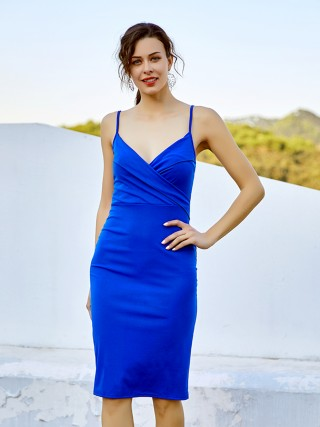 Breathtaking Blue Adjustable Straps Zipper Midi Dress For Women