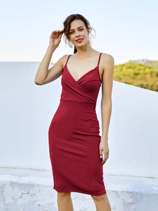 Entrancing Wine Red Backless Midi Dress Pleated Sling Female
