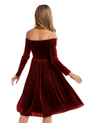 Angel Wine Red Off Shoulder Midi Dress Pleated Hem Glamor