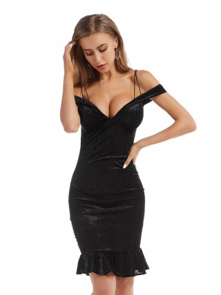 Fascinating Black Ruffle Hem Midi Dress Cross Sling Female Charm