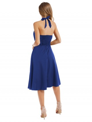 Suave Blue Sleeveless Midi Dress Open Back For Stunner