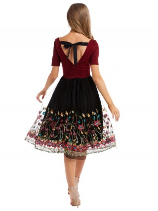 Super Faddish Wine Red Midi Dress Short Sleeve Patchwork Online
