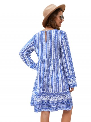 Intriguing Blue Back Hollow Out Midi Dress V-Neck