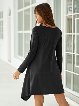 Sophisticated Black Midi Dress With Pocket Asymmetric Hem