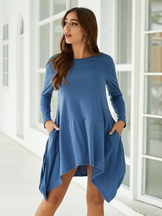 Smooth Blue Irregular Hem Midi Dress Round Collar Leisure