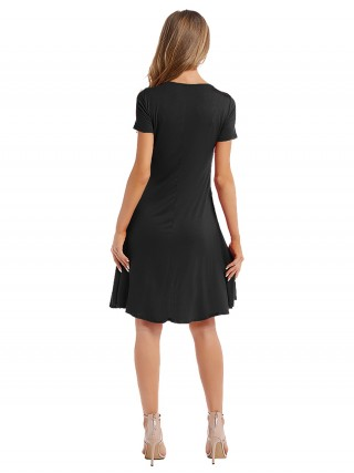 Adorable Black Solid Color Round Collar Midi Dress Smooth
