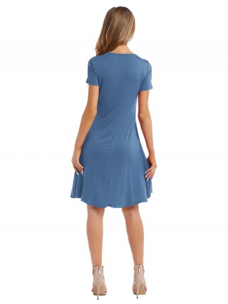 Dainty Blue Ruched Plain Midi Dress With Pocket Gentle Fabric