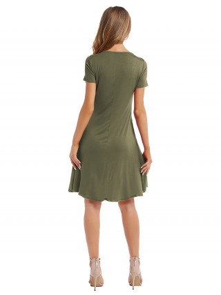 Maiden Army Green Plain Midi Dress Pleated Crewneck For Women