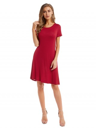 Gorgeously Red Short-Sleeves Midi Dress Round Neck Summer