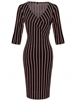 Black Half Sleeves Stripe Midi Dress V Neck Female Charm