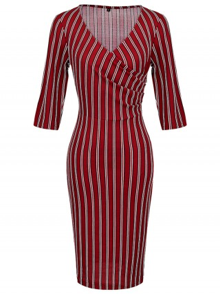 Wine Red Stripe Print Half Sleeves Midi Dress Comfort Women