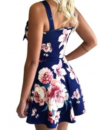 Gracious Blue Sleeveless Floral Printing Mini Dress Slim