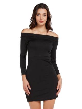 Intrigued Black Off Shoulder Mini Dress Full Sleeve Chic Fashion