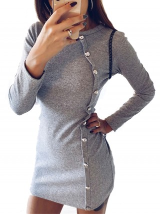 Slip Gray Button Plain Mini Dress Full Sleeve Super Faddish