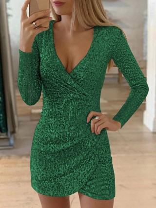 Excellent Green Long Sleeves Sequin Dress Mini Length Romance Time