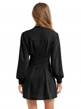 Glam Black Mini Dress Solid Color Bishop Sleeve Contouring Sensation