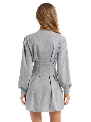 Romance Gray Crew Neck Mini Dress High Waist At Great Prices‎