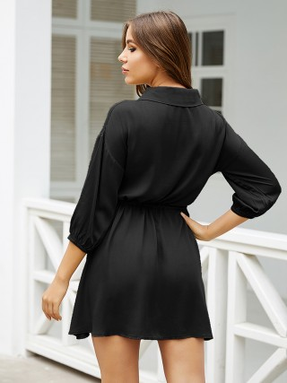 Particularly Black Drawstring Waist Mini Dress 3/4 Sleeve