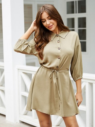 Premium Khaki Turndown Neck Mini Dress Front Button Comfort