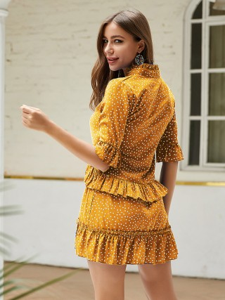 Stylish Yellow Polka Dot Mini Dress Ruffle Big Size Elegance