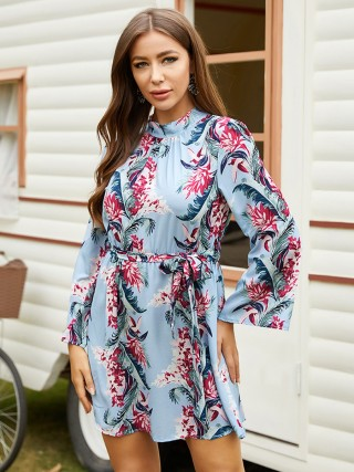 Ravishing Light Blue Floral Printed Mini Dress Tie Waist Comfort