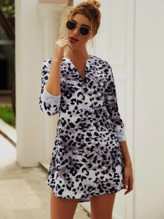 Fresh Apricot Mini Dress Leopard Pattern V Collar For Lover