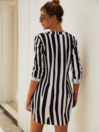 Inviting Mini Dress Stripe Print Long Sleeve For Holiday
