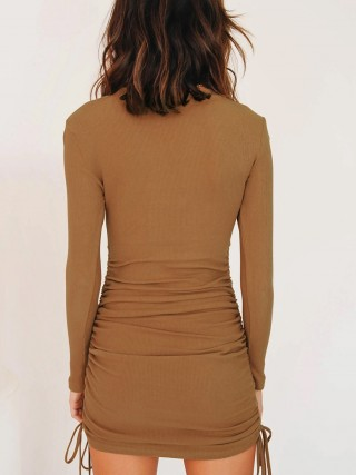 Relaxed Brown Solid Color Crew Neck Mini Dress Ruched Casual Wear