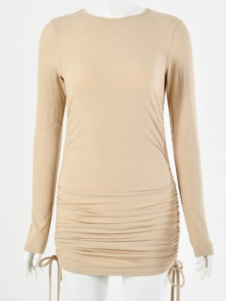 Remarkable Khaki Mini Length Ruched Long Sleeves Dress Elegance