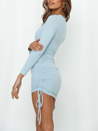 Excellent Blue Bodycon Mini Dress Drawstring Side Ruch Fabulous Fit