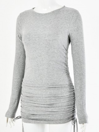 Structured Gray Crew Neck Mini Dress Drawstring Ruched Cheap Online