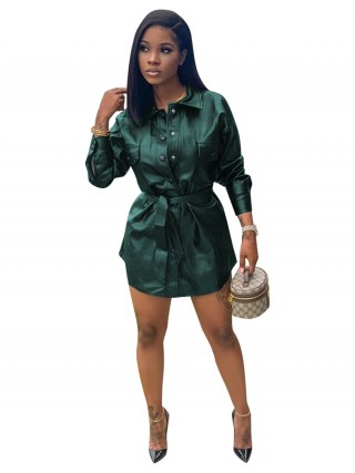Green Long Sleeve Waist Belt PU Mini Dress For Ladies