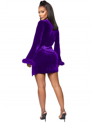 Purple Twist Cuff Edge Irregular Hem Mini Dress Leisure