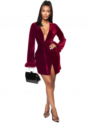 Wine Red Mini Dress Velvet Deep-V Neck Slit High Elasticity