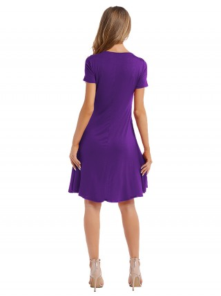 Structured Purple Pleated Midi Dress Short Sleeves Elegance