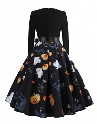 Enchanting Long Sleeve Skater Dress Pumpkin Print Ultra Hot
