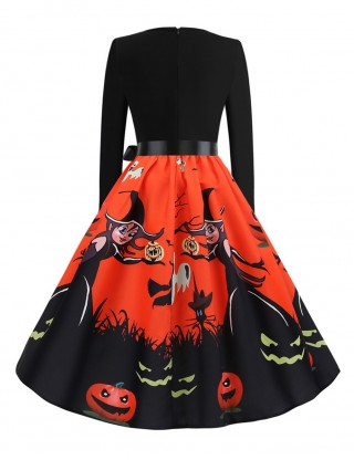 Eye Catch Witch Paint Zipper Belt Swing Skater Dress Visual Effect