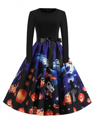 Slip Swing Skater Dress Long Sleeve Print Visual Effect